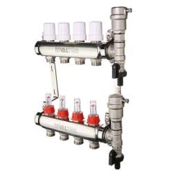 """Коллекторный блок Valtec из нержавеющей стали со встроенными расходомерами и термостатическими клапанами 1"""", 5 x 3/4"""""""