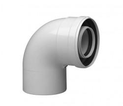 Колено коаксиальное алюминиевое 90 гр. 60/100 CС-BX-01( в сборе с хомутом и манжетой) SAMRISE